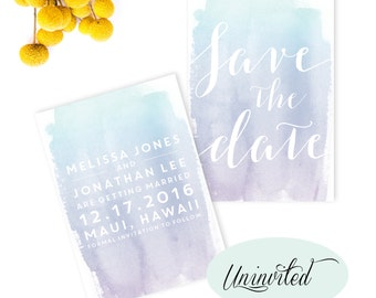 Watercolor Save the Date - save the dates, water-colour, watercolor