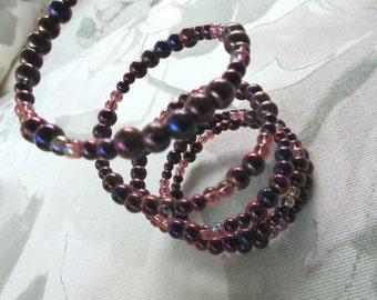 Purple beaded wrap bracelet, stacked bracelet, memory wire bracelet