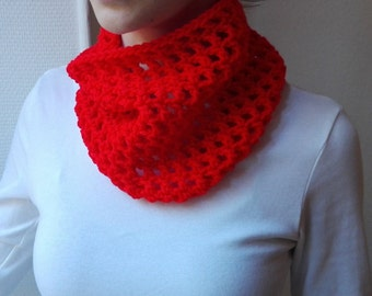 Fire Engine Red Cowl, handmade accessories, crochet, red scarf, neckwarmer