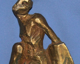 Vintage Hand Made Solid Bronze Abstract Figure Statuette