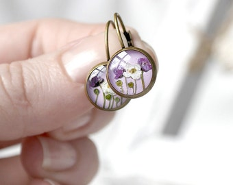 Gift for friend Violet earrings lavender dried flower jewelry Purple earrings Unique Birthday gifts for her gift sister gift for daughter
