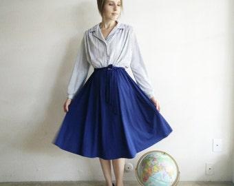 Vintage 1970s Polka Dot Secretary Dress/70s Dress/Large
