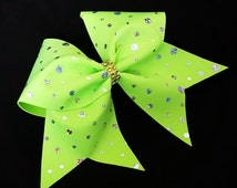 Cheer bow, neon green cheer bow, sliver sequin cheer bow, cheerleader bow, cheerleading bow, dance bow, rec cheer bow, softball bow, bow