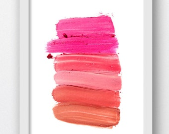 Makeup Swatch Red Shades,Digital Makeup Swatches, Pink and Red Makeup Splashes, Beauty Swatches, Makeup Artist Color Swatches, Digital Print
