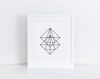 PRINTABLE Art Geometric Triangle Art Print Triangle Art Print Black and White Apartment Decor Home Decor Geometric Art Print Dorm Decor
