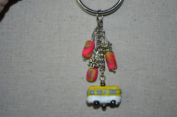 Keychain VW Bus Charm with Daisy & Clay Beads Hand Made Clay VW Bus