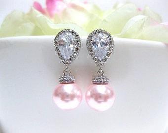 Blush Pink Pearl Earrings Bridal Pearl Earrings Swarovski Rosaline Round Pearl Wedding Earrings Bridesmaids Gift Pink Jewelry (E061)