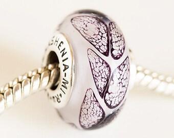 Artisan Lampwork glass Charm bead. Silver cored beads. Handmade Lampwork beads, Fits Pandora, European bracelet beads Black white. BHB