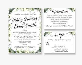 Leaf Wedding Invitation - Green - Wedding Invitation - Printable
