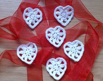 Set of 6 white crochet hearts Applique hearts Valentines day heart Small crochet heart Garland banner