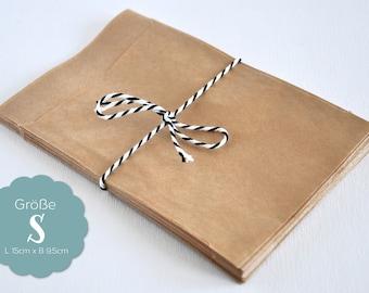 20 paper bags Brown S - 9.5 x 15 cm