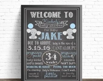 Blue Elephant Baby Shower Chalkboard Sign / Printable Poster / Baby Shower Decorations / Nursery Decor / Gray Elephants / Baby Sprinkle