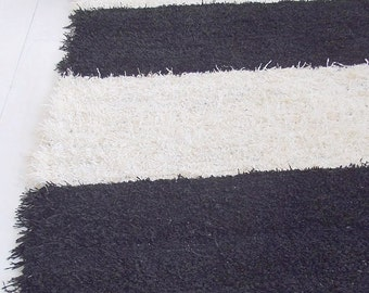Black and off white striped rug, shaggy rug, soft and thick rug, washable, handmade on the loom, ready to ship, 50% SALE