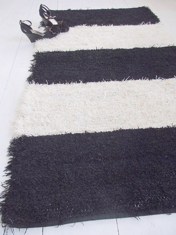 Black and off white striped rug shaggy rug soft and thick Black and white striped rug