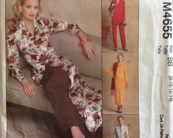 McCalls M4655 - Unlined Jacket, Dress or Duster with Straight Leg Pants - Size 8 10 12 14