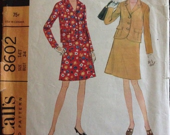 McCalls 8602 - 1960s Single Breasted Jacket with Notched Collar and Above Knee Skirt - Size 14T Bust 34