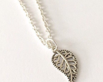 Silver Leaf Necklace/Dainty Leaf Necklace/Dainty Silver Leaf Necklace/Silver Dainty Leaf Necklace