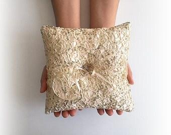 EXPRESS SHIPPING, Wedding Ring Bearer Pillow, Fishnet Sequin Ring Pillow, Gold Wedding Ring Pillow, Boho Wedding Gift, Gold Sequin Pillow,