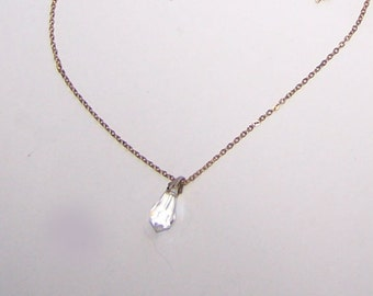 Crystal Necklace / Crystal Pendant / Single Solitaire Clear Crystal Drop / Signed SN