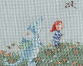 KL165 Walking with Dragon Counted Cross Stitch Kit - Dragon and Little Boy - designed by Genny Haines