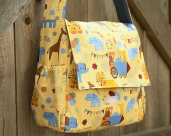 Circus & Animal Themed Baby Bag, Diaper Bag, Shopping Bag, Organizer, Tote, Satchel, Crossbody, Lion, Elephant, Giraffe, Train