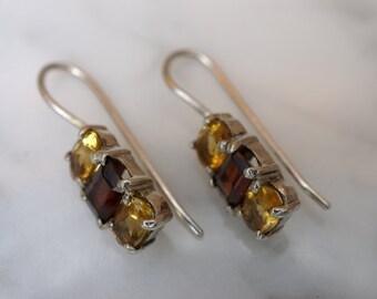 Sterling Silver, Garnet, and Citrine Hook Drop Earrings