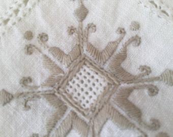 1950's Cream & Beige Embroidery Table Cloth 126cm Square
