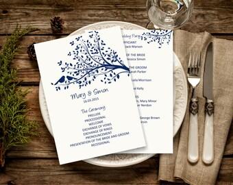 Navy Wedding Program Template Rustic Birdie Download Instantly