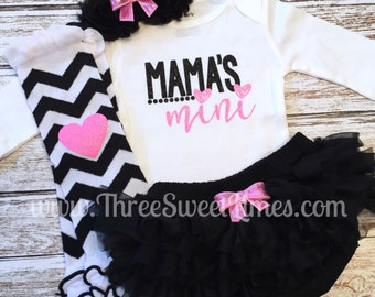 Mama's Mini Baby Girl Outfit | Bodysuit Optional Leg Warmer Headband Set | New Baby Shower Gift | Black And Pink Glitter | Toddler Shirt
