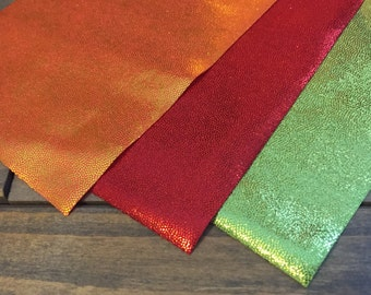 Spandex strips - Red, Lime Green or Orange Mystique spandex fabric