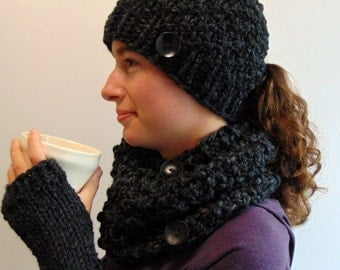 Ponytail Beanie, Fingerless Gloves and Cowl Set - Chunky Knit - Hat Scarf Gloves Set - Made in Alaska Gift for Her Charcoal Gray
