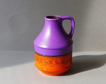 Vintage vaas by Dumler & Breiden West Germany, orange, purple and a band of fat lava, model 322-17 , sixties, seventies