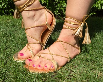 Genuine leather gladiator sandals, lace up sandals, gold sandals, mommy and me sandals