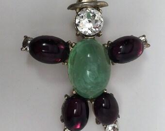 Vintage Unmark Coro Cabochon Figural Tin Man Pin Brooch