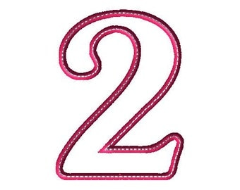 Applique 2 Number Design - Number Applique - Number Font - Birthday - Embroidery Number - Two
