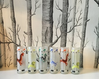6 Frosted Libbey Carousel Merry-Go-Round Glasses with Circus Animals Tumblers