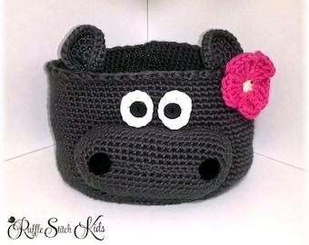 Custom Order Hand Crochet Hippo Nursery Gift Basket