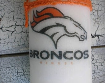 New!  Denver Broncos Candle.  Football, Birthday. NFL. Fathers Day
