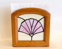 Napkin Holder w/ Stained Glass Nautilus and Scallop Seashell Designs in Solid Oak Frame - Kitchen Decor - Outdoor Entertaining