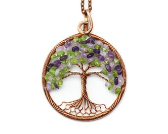 Amethyst necklace Amethyst pendant Peridot necklace Tree-of-Life Pendant Tree-of-Life Necklace Wire wrapped jewelry Copper tree Gift