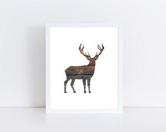 Deer Printable, Deer Art, Wood Wall Art, Deer Silhouette Print, Digital Print, Instant Download, Deer Download, Holiday Decor, Winter Art