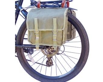 A Pair Of 1960/80s Ex-Army Showerproof Canvas Pannier Bags vintage green large bike panniers rainproof NOS