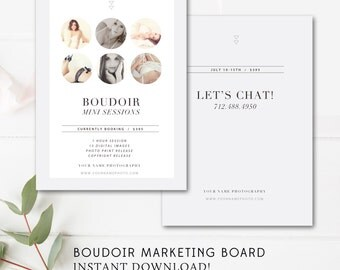 Boudoir Mini Session Marketing Board - Boudoir Marketing Template - Modern Photographer Templates - INSTANT DOWNLOAD