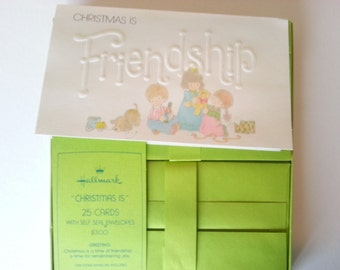 24 Vintage Hallmark Friendship Christmas Cards and 25 Matching Envelopes