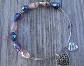 Heart Bangle Love Bangle Silver Bangle Lavendar Heart Charm Swaroski Crystal Bangle Heart Bracelet Love Bracelet
