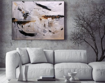 MADE TO ORDER Art Large White Painting, Black And White Wall Art, Textured Art Original Painting, White Canvas Art, Large Art, Christovart