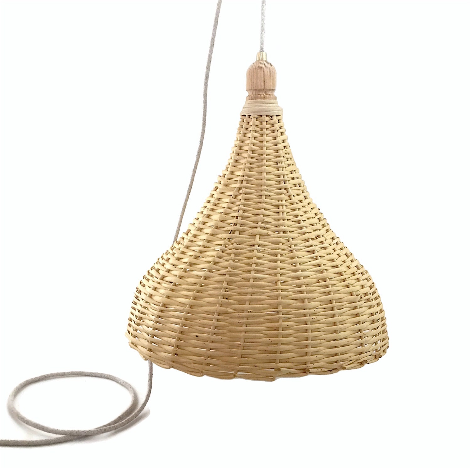 woven wicker basket l large handmade pendant light