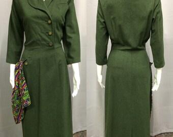 Vintage 1940's Olive Green Wool Dress