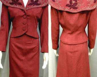 Vintage 1940's Beaded Mauve Jacket & Skirt Suit