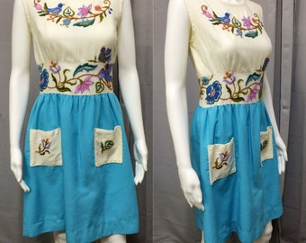 Vintage 1960's Embroidered Colorblock Shift Dress